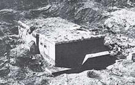 The Blockhouse d'Eperlecques showing the damage wrought by the bombing raid