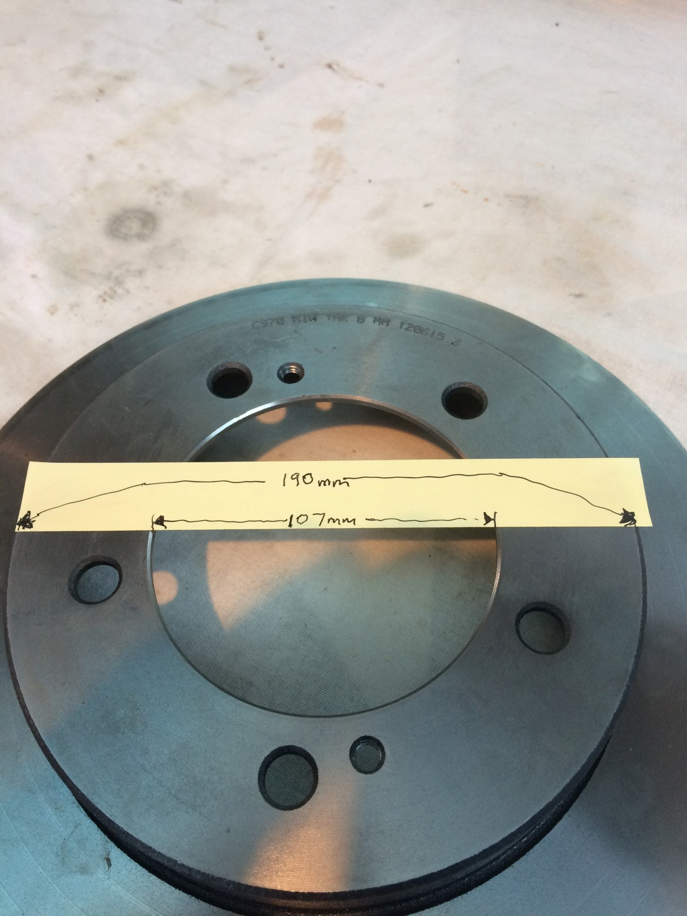 Use disc as spacer template (inner diameter 107mm, outer 190mm).